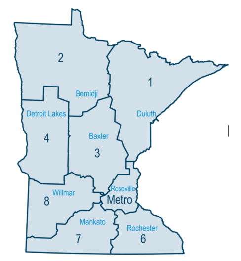 MnDOT District Boundaries and their Headquarters