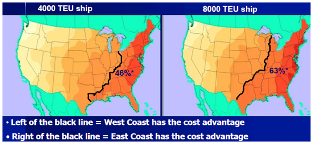 This image is a map that shows the cost advantage regions by ship size. For all ship sizes, Minnesota is in the West Coast port cost advantage territory.
