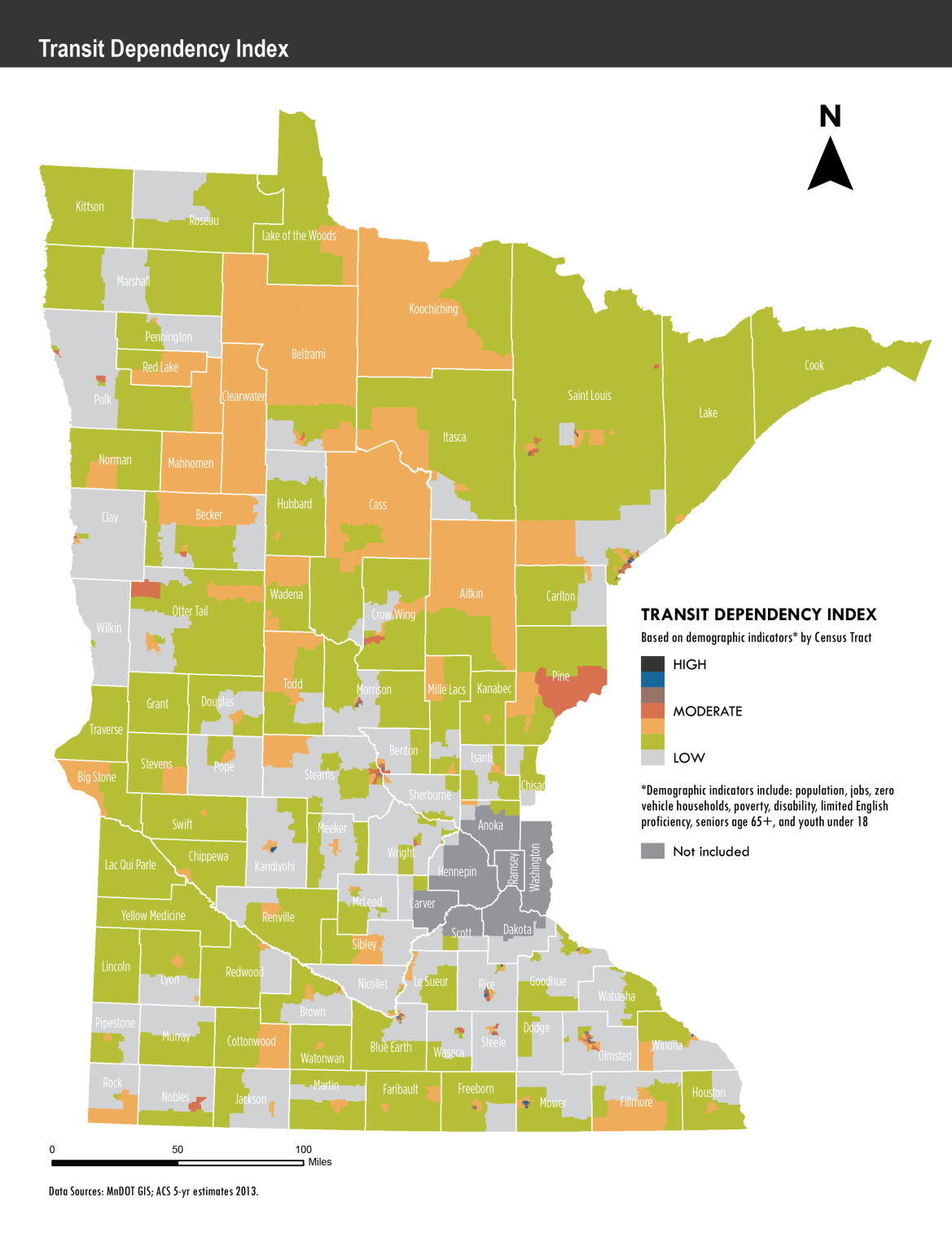 Map of Statewide Transit Dependency in Greater Minnesota