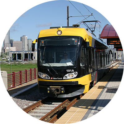 Image of a light rail train