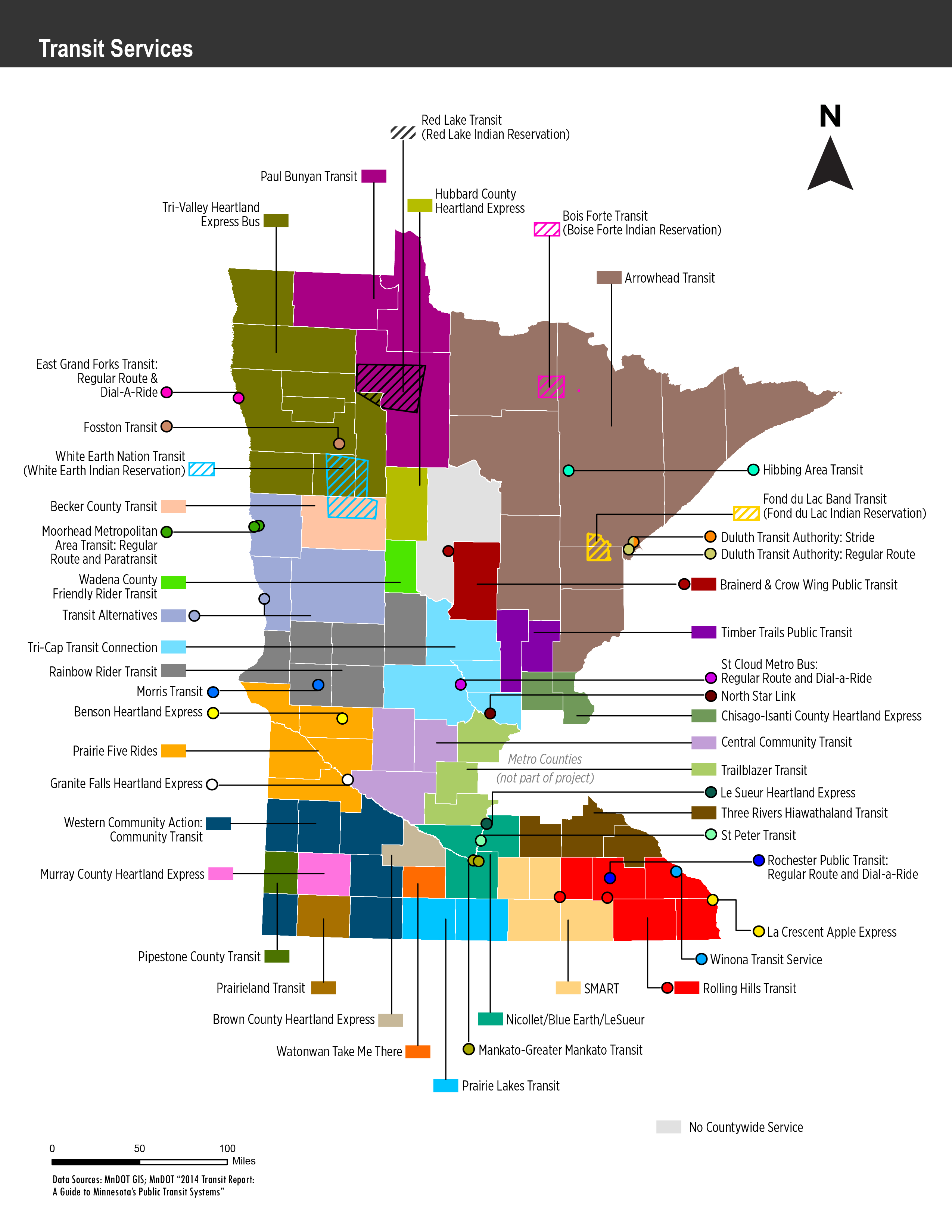 Map of Greater Minnesota Transit Systems