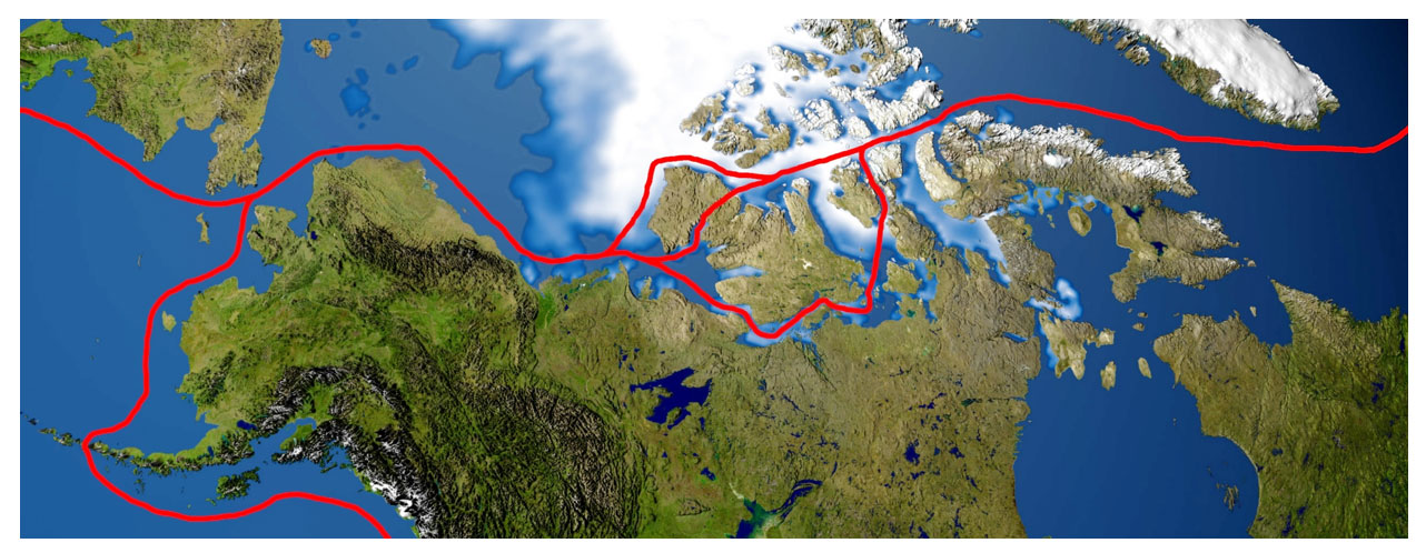 This image is a map that shows popular Northwest Passage routes.
